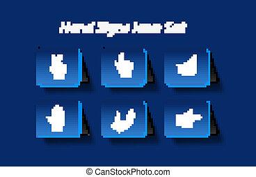 icônes, main, élément