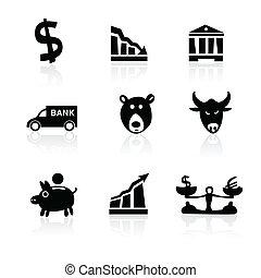 icônes, main, 1, banque, partie, dessiné