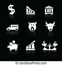 icônes, main, 1, banque, partie, noir, dessiné, blanc