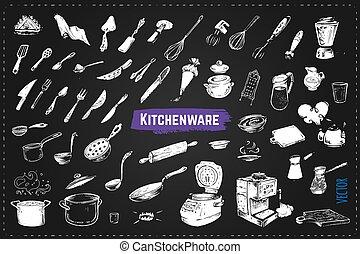 icônes, main, craie, vecteur, dessiné, utencils., cuisine