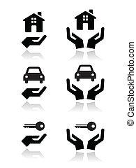 icônes, mains, voiture, clés, maison