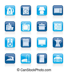 icônes, maison, équipement