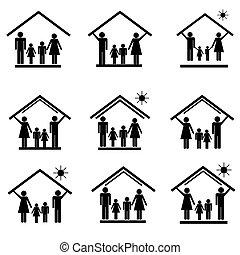 icônes, maison, 1, ensemble, famille, protection