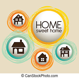 icônes, maison famille