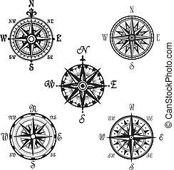 icônes, marin, nautique, vecteur, compas, navigation, ou