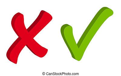 icônes, marque, vecteur, vert, chèque, rouges