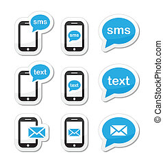 icônes, message, sms, mobile, texte, courrier