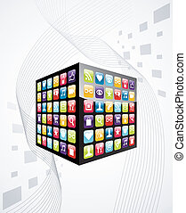 icônes, mobile, cube, apps, téléphone, global
