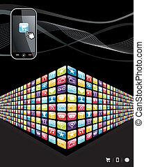 icônes, mobile, global, apps, téléphone, mur