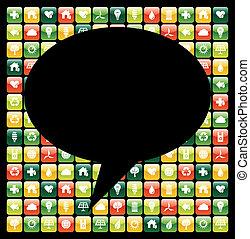icônes, mobile, global, apps, téléphone, vert, bulle