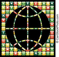 icônes, mobile, global, apps, téléphone, vert, mondiale