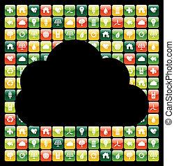 icônes, mobile, global, apps, téléphone, vert, nuage