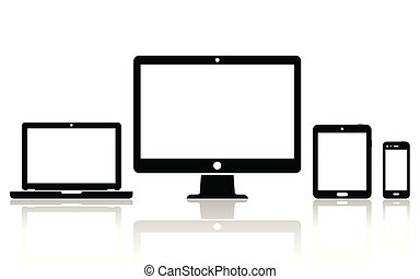 icônes, mobile, ordinateur portable, tablette, ordinateur bureau, téléphone