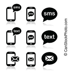 icônes, mobile, texte, sms, courrier, message