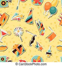 icônes, modèle, autocollant, seamless, fête, objects., célébration
