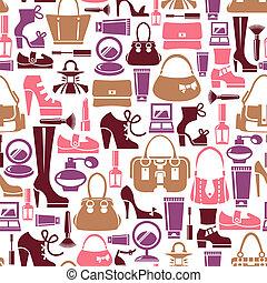 icônes, modèle, beauté, seamless, femme