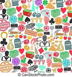 icônes, modèle, casino, fond, jeux & paris, ou