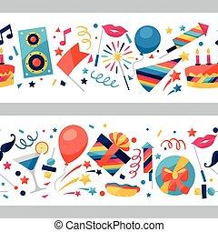 icônes, modèle, seamless, fête, objects., célébration
