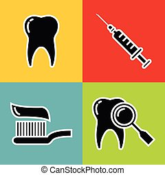 icônes, monde médical, coup, noir, art dentaire, blanc