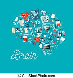icônes, monde médical, formé, cerveau, humain, symbole