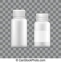 icônes, monde médical, isolé, plastique, vide, récipients, 3d