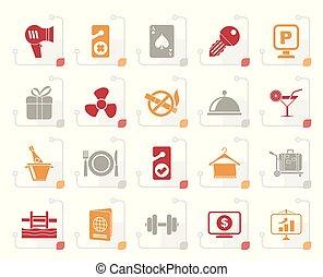 icônes, motel, hôtel, stylisé, 2, services