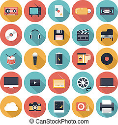 icônes, multimédia, plat, ensemble