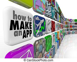 icônes, mur, faire, apps, comment, carreau, app, logiciel