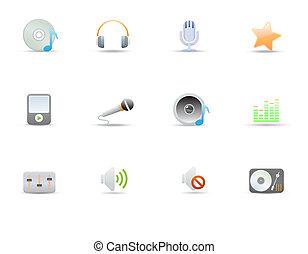 icônes, musique numérique, commun, média