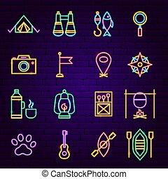 icônes, néon, camping