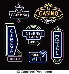 icônes, néon, collection, réaliste, signboards, nuit