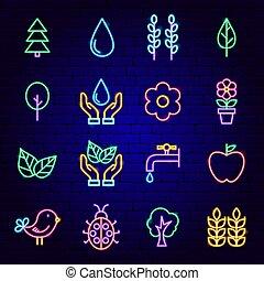 icônes, nature, néon