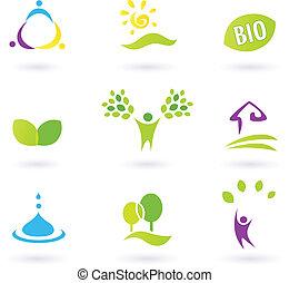 icônes, nature., vie, gens, ferme, vecteur, inspiré, illustration., bio