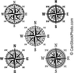 icônes, navigation, compas, vecteur, nautique, marin