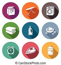 icônes, nettoyage, set., sec, services