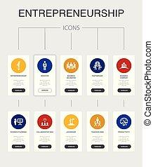 icônes, nfographic, équipe, ui, entrepreneurship, 10,...