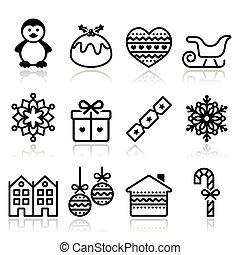 icônes, noël, hiver, coup