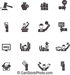 icônes, noir, ensemble, enchère, blanc