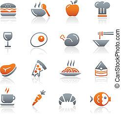 icônes nourriture, -, 1, //, graphite, série