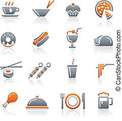icônes nourriture, -, 2, //, graphite, série