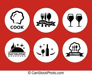 icônes nourriture, arrière-plan rouge, restaurant
