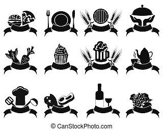 icônes, nourriture, bannière, noir, ensemble