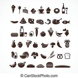 icônes nourriture, et, éléments