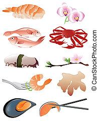 icônes, nourriture, fruits mer, japonaise, traditionnel, ...