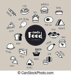 icônes, nourriture, griffonnage, set., main, dessiné
