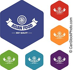 icônes, nourriture, hexahedron, chaud, vecteur, asiatique