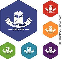 icônes, nourriture, hexahedron, jeûne, chaud, vecteur