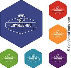 icônes, nourriture, menu, hexahedron, japonaise, vecteur