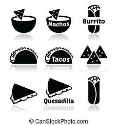 icônes, nourriture, nachos, tacos, -, mexicain