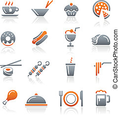 //, icônes, nourriture, série, -, 2, graphite